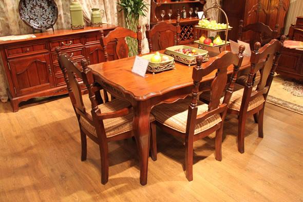 美式田园风格成都实木家具艾森堡庄园餐厅系建材产品